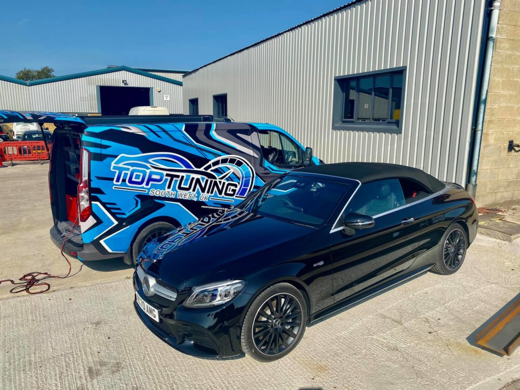 Black Mercedes being remapped by Top-tuning