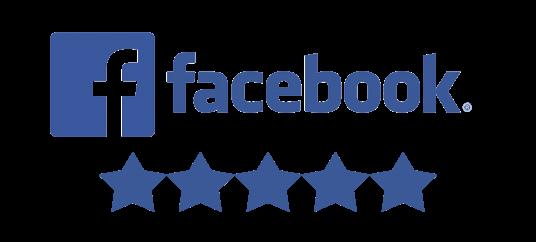 facebook logo and 5 star reviews