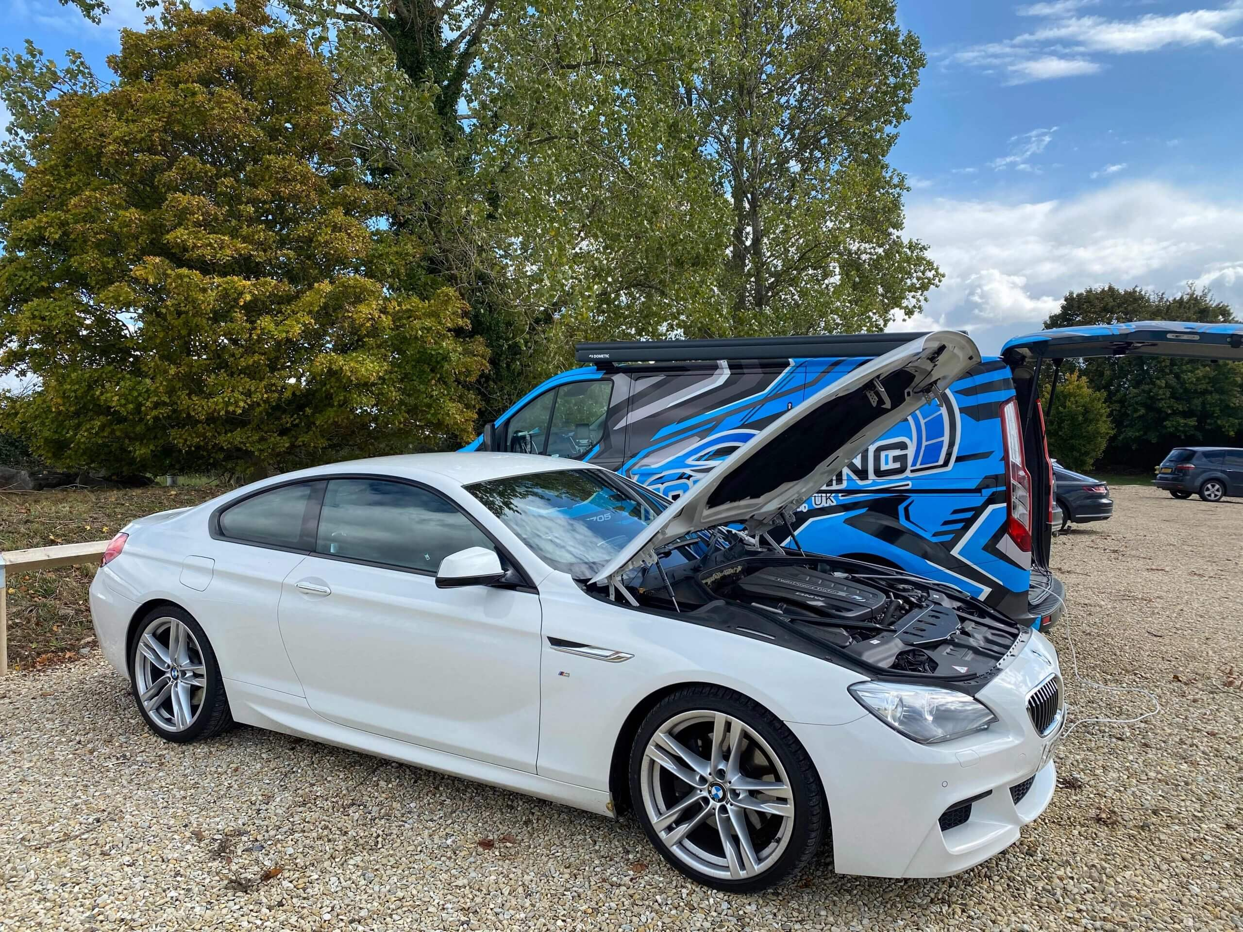 Mobile service remapping a BMW